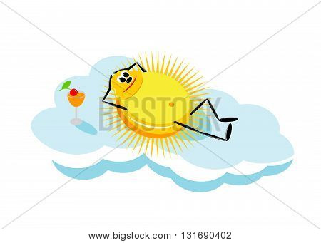 vacation. The sun lying on a cloud and a glass with orange juice
