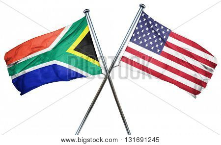 South africa flag with american flag, isolated on white backgrou