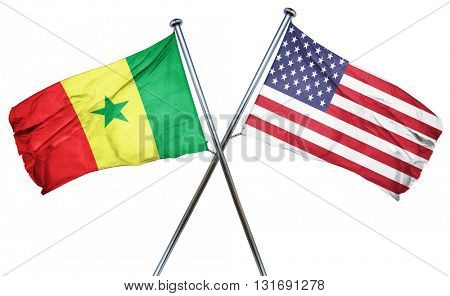 Senegal flag with american flag, isolated on white background