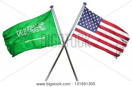 Saudi Arabia flag with american flag, isolated on white backgrou