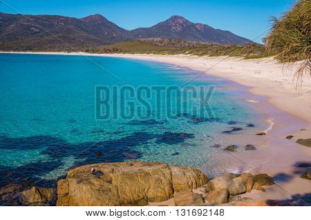 Wineglass Bay - The beautiful beach Wineglass Bay on the east coast of Tasmania has crysal clear water.
