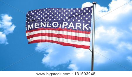 menlo park, 3D rendering, city flag with stars and stripes
