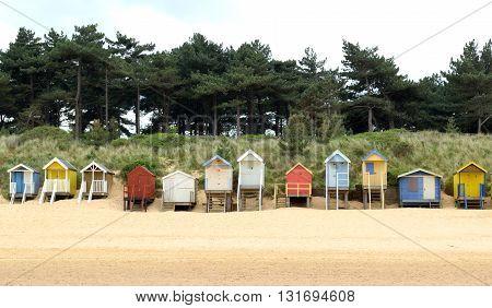 Beach huts near Wells-next-the-Sea in Norfolk England