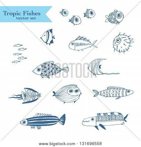 Tropical summer fishes vector set. Perfect for scrapbook paper, fabrics, web.