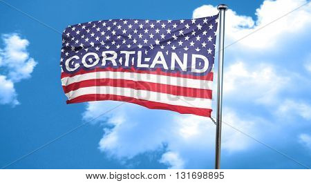 cortland, 3D rendering, city flag with stars and stripes