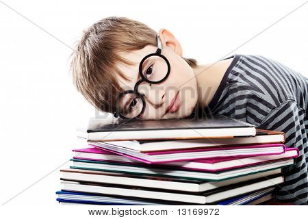 Educational theme: funny teenager with books. Isolated over white background.