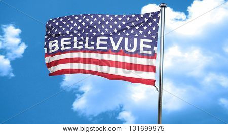 bellevue, 3D rendering, city flag with stars and stripes