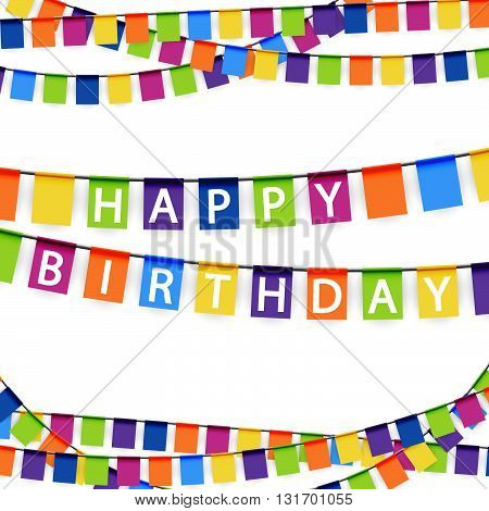 colored garlands background with white text Happy Birthday