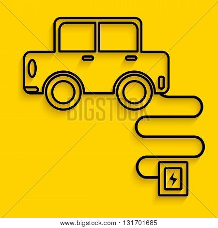 car charge in graphic line art , technology tranportation