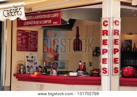 Bandol France - april 20 2016 : creperie on the main street