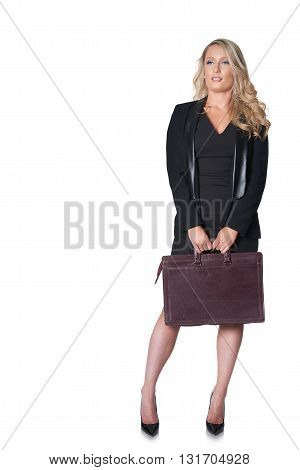 Blond business woman in dark suit isolated on white