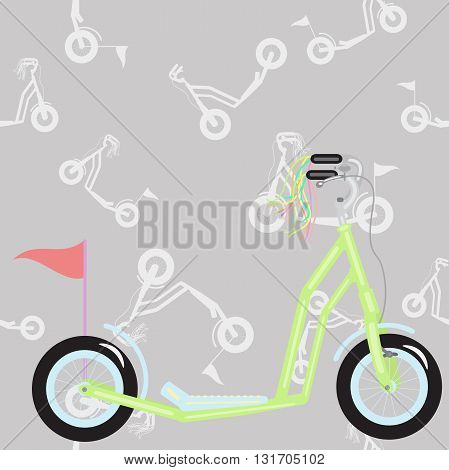 scooter green and fringed flag in the background seamless pattern of scooters poster