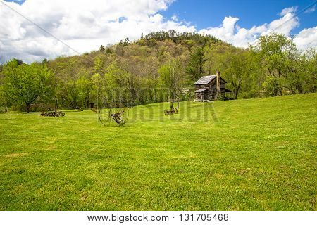 Kentucky Historical Log Cabin. Gladie historic cabin in the Daniel Boone National Forest in Kentucky. This is a historical landmark on public park land and not a privately owned residence or property.