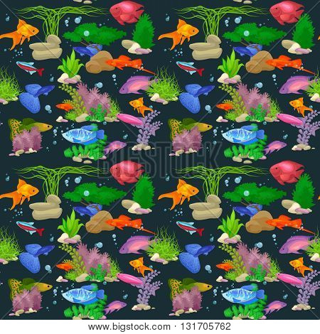 Cute fish vector illustration icons set. Fish flat style vector illustration. Fish icons isolated. Tropical fish, sea fish, aquarium  fish set isolated on white background. Sea color flat design fish