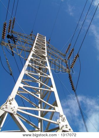 Electricity Pilon  At Blue Sky