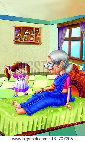 Rhyme Grandma for kids, Grandma talking to granddaughter