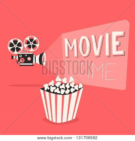Retro movie projector poster. Cartoon vector illustration. Cinema motion picture. Film projector with film reels. Hand drawn lettering. Movie time poster. Cinema and popcorn