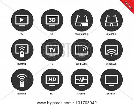 TV vector icons set. Film, movie and entertainment concept, different tv screens and equipment, 3D glasses, remote, HD, wireless, signal, screen. Isolated on white background