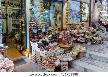 TAORMINA ITALY - MAY 21: Grocer shop with spices and beverages on May 21 2016 in Taormina at the island Sicily Italy