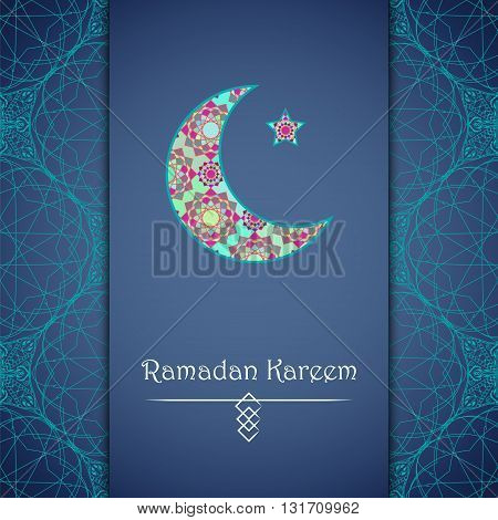 Vector greeting card to Ramadan. Greeting background with text Ramadan Kareem and muslim symbols