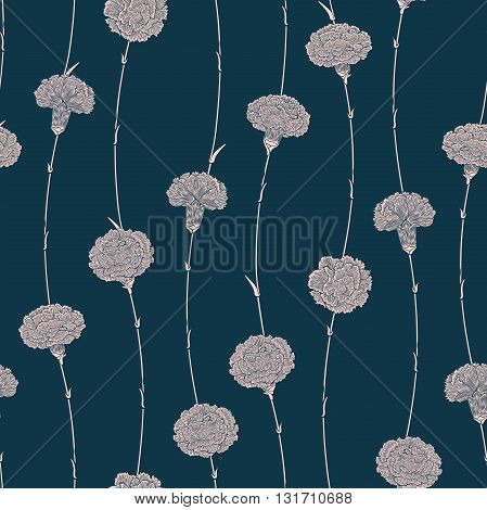 Seamless pattern of flowers carnations with a direction from the bottom up. Detailed graphics flowers silhouettes. White on dark-blue background