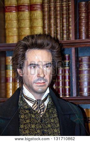 LONDON UK - JUNE 7 2015: Robert John Downey Jr. (born April 41965) American actor in Madame Tussaud wax museum. It is one of major tourist attraction.