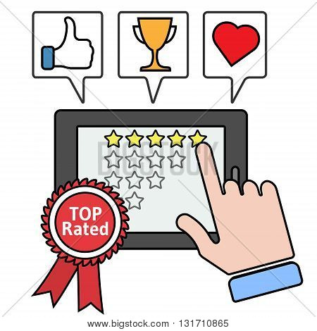 Pointing to a tablet with five star on the screen. Rating and review thin line vector illustration. Top rated app concept. Thumb up, trophy cup, heart icons.