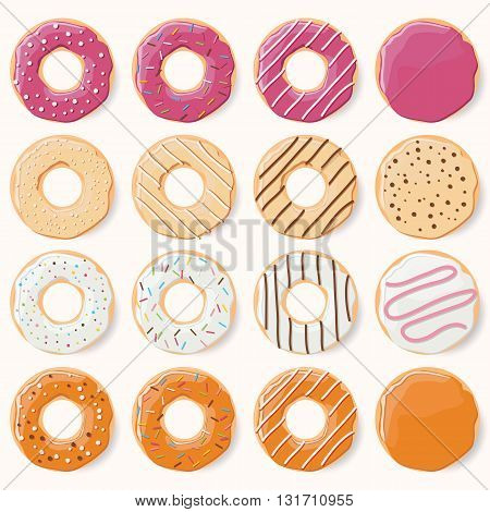 Collection of sixteen glazed colorful donuts with different flavors vector illustration