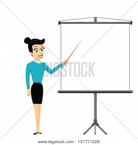Girl shows pointer on white billboard with empty space. Business presentation. Stock vector illustration.