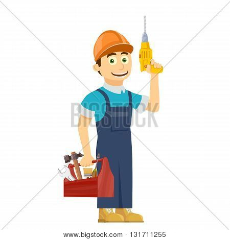 Construction worker holds in hands a tool box. Stock vector illustration.