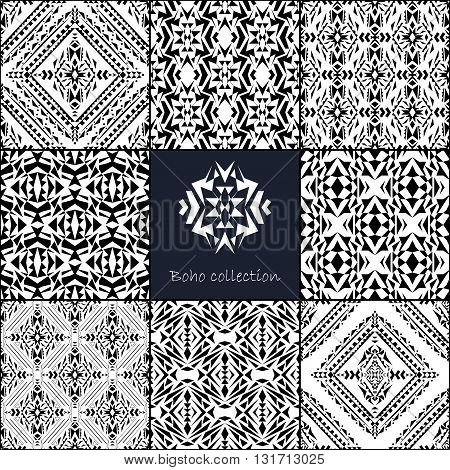 Vector seamless texture. Set of tribal black and white decorative patterns for design. Aztec ornamental style. Ethnic native american indian ornaments
