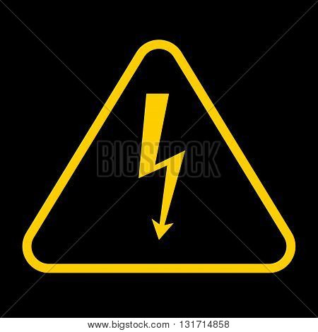 Vector danger sign with frame.high voltage yellow symbolon black background