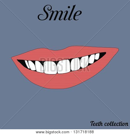 illustration of a smiley mouth pink show the teeths red lips vector. bright lipstick beautiful smile.