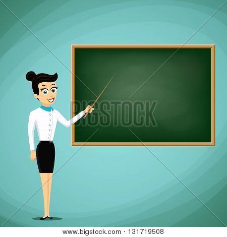 Woman Teacher show pointer on blackboard. Back to school. Stock vector cartoon illustration.