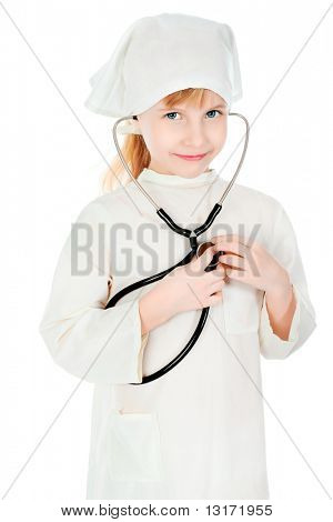 Shot of a little girl in a doctors uniform. Isolated over white background.