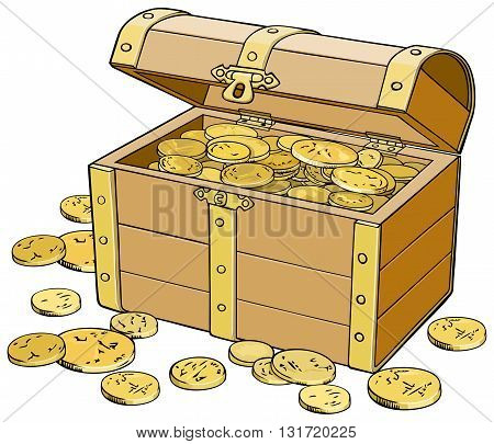Colored vector illustration of a chest of gold coins
