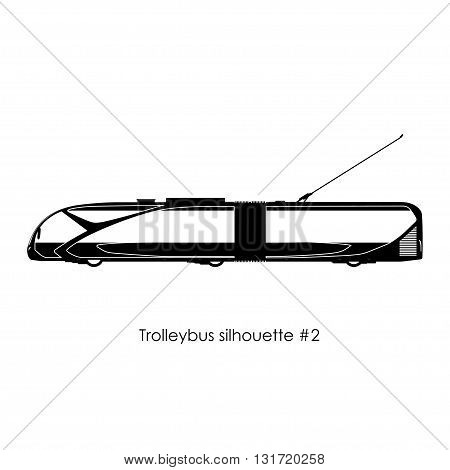 Black silhouette of trolley bus on a white background. Model of the future. Vector illustration
