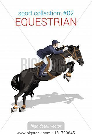 Sportsmen vector collection. Equestrian horseback rider. Sportsman high detail illustration.
