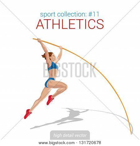 Sportsmen vector collection. Vault jumper female athlete pole jump. Sportsman high detail illustration.