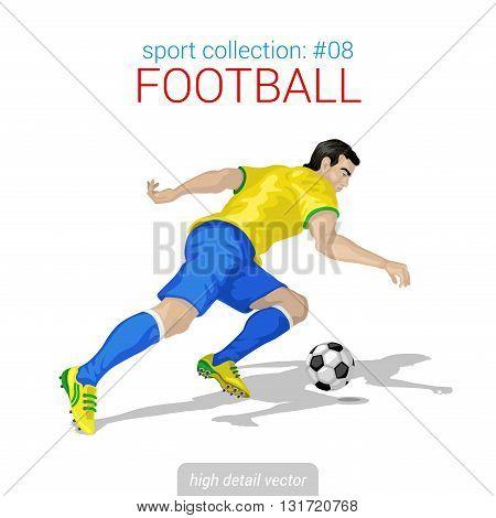 Sportsmen vector collection. Football player forward offense. Sportsman high detail illustration.