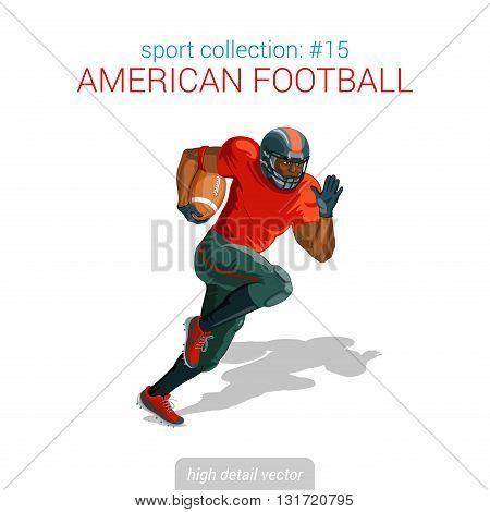 American football black player sprint ball. High detail vector