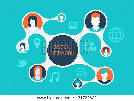 Flat vector social media network concept connected profiles