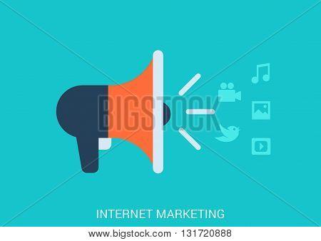 Flat design vector internet online marketing smm smo concept