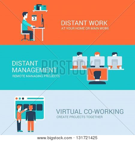 Business distant co-working remote work concept flat icons set