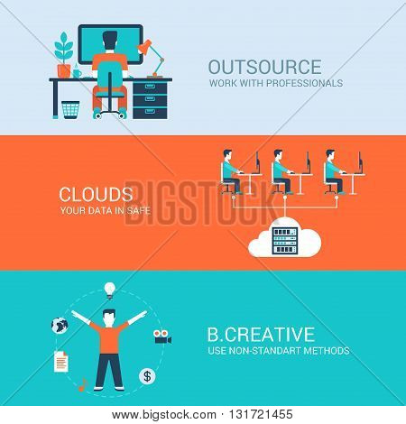 Business technology creative concept flat icons set cloud