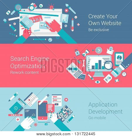 Webdesign creation seo app infographics concept flat icons set