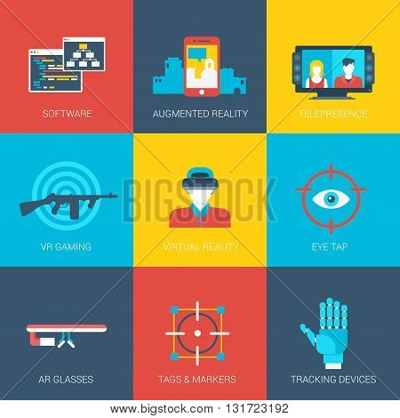 Flat icons set virtual augmented reality gaming tracking technology grasses cinema web click infographics style vector illustration concept collection. poster