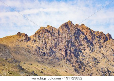 Telephoto Detailed View Of Rocky Mountain Peak And Jagged Ridge. Extreme Terrain Landscape At High A