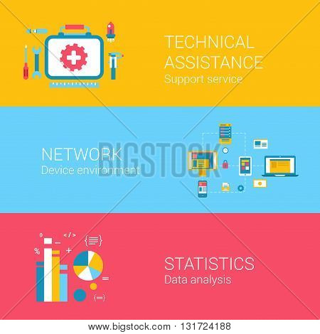 Support concept flat icons set of technical assistance network device environment statistics data analysis and vector web banners illustration print materials website click infographics elements collection.