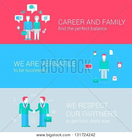 Career family balance concept flat icons set of versatile successful partnership and vector web banners illustration print materials website click infographics elements collection.